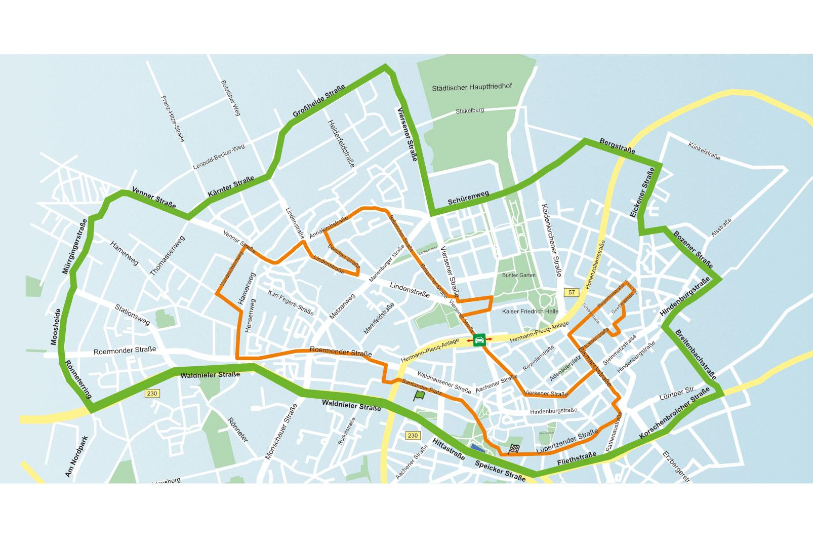 Die Karte zeigt den Streckenverlauf des Santander-Marthon (orange) und die Umleitungsstrecke (grün). (Quelle: santander-marathon.de)