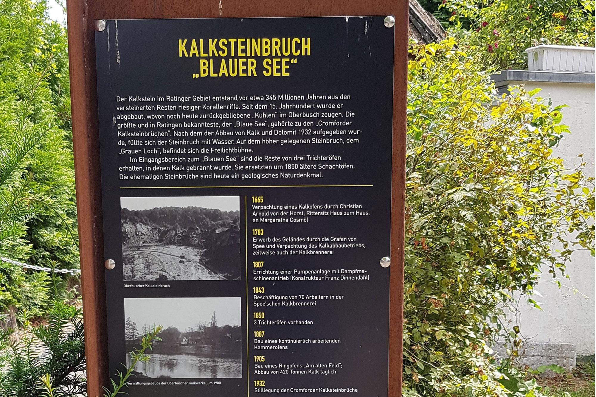 Die im Stadtgebiet aufgestellten Stelen informieren über die verschiedenen Stationen des Ratinger Industriepfades. (Foto: Stadt Ratingen)