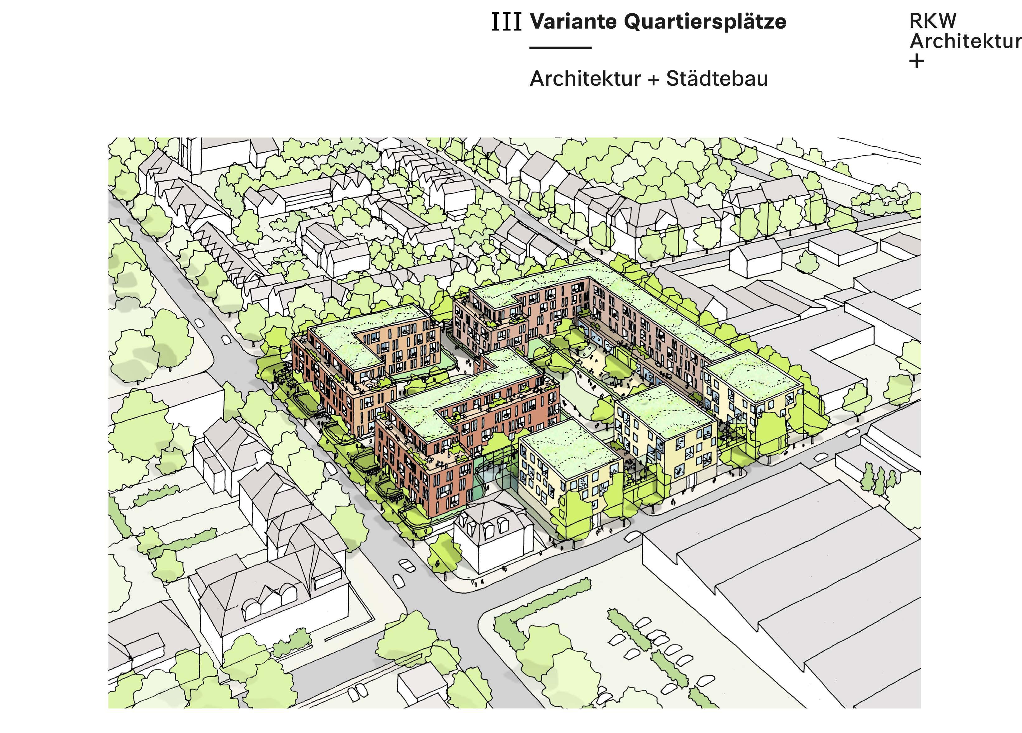 """Projektgebiet """"Briedestraße/Ecke Kappeler Straße"""": Entwurfsvariante 3 (Foto: RKW Architektur +)"""