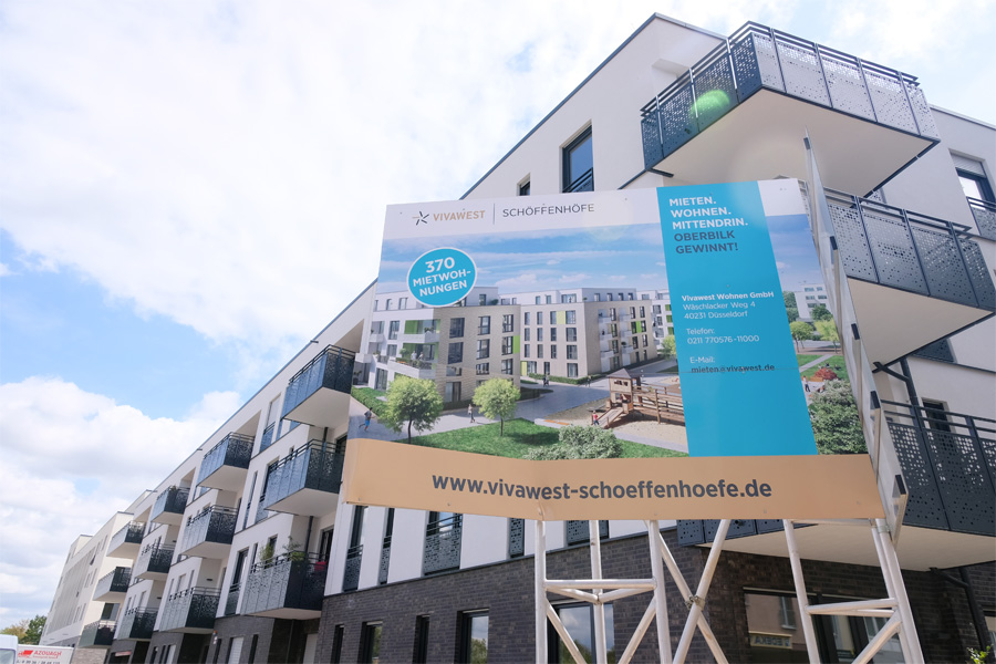 Auf dem ehemaligen Bahngelände an der Mindener Straße baut VIVAWEST elf Mehrfamilienhäuser(Foto: Stadt Düsseldorf/Michael Gstettenbauer)