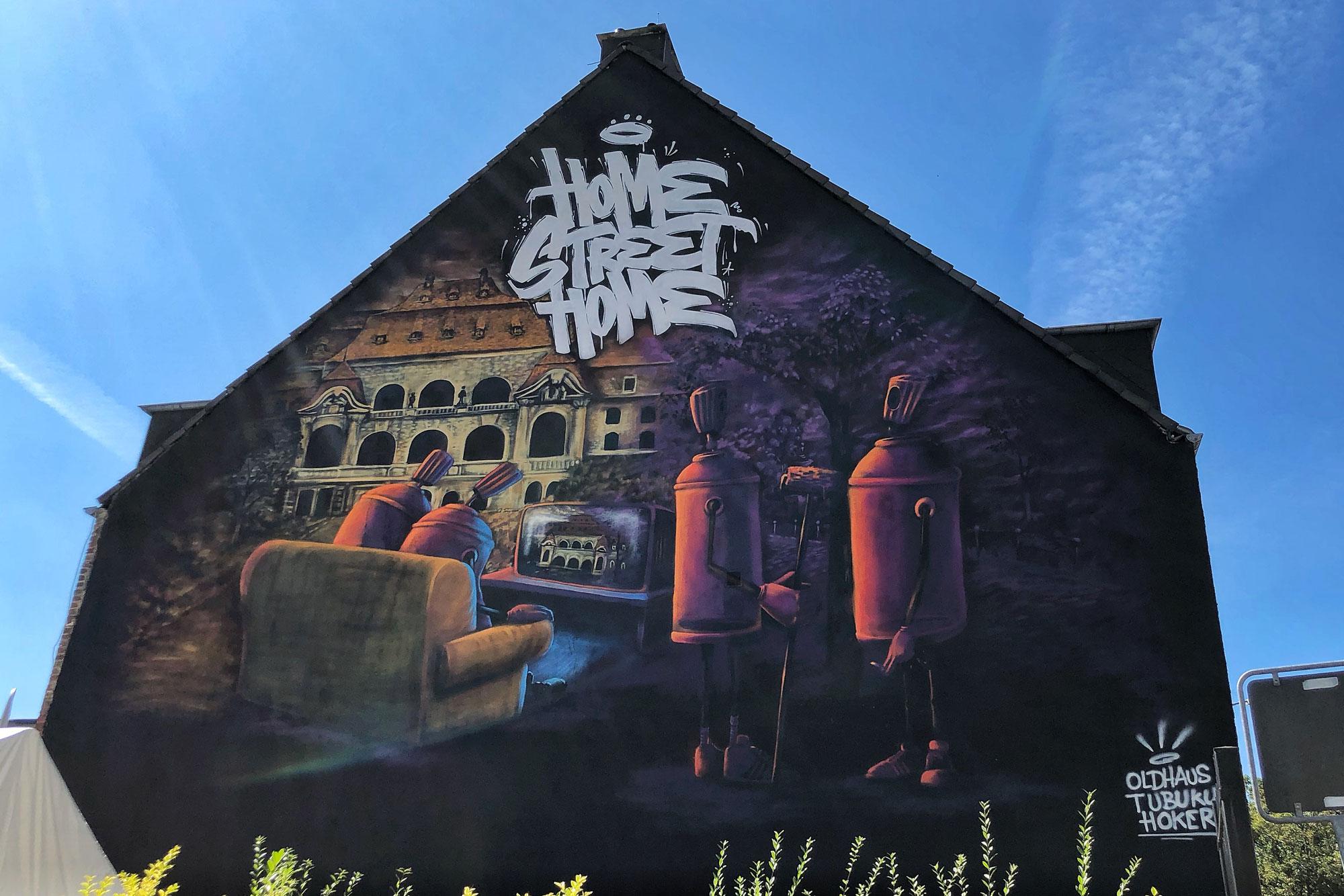 Beim Urban Art Festival sind Sprayer aus Deutschland und Spanien auf der Waldhausener Straße aktiv. (Foto: Steffen Mumm)