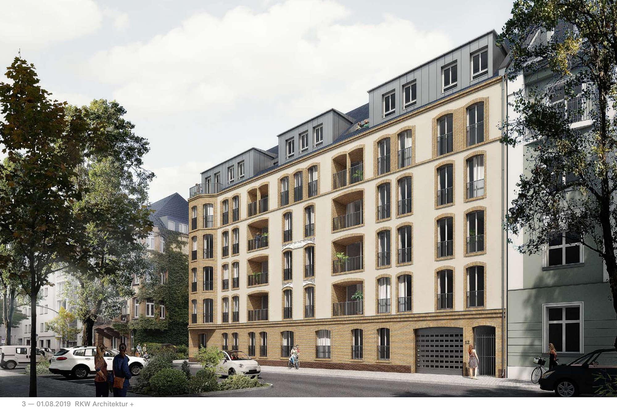 Vorläufiger Fassadenentwurf zur Bauvoranfrage Kronenstraße 10 - 12 (Foto: RKW Architektur + für Project Immobilien)