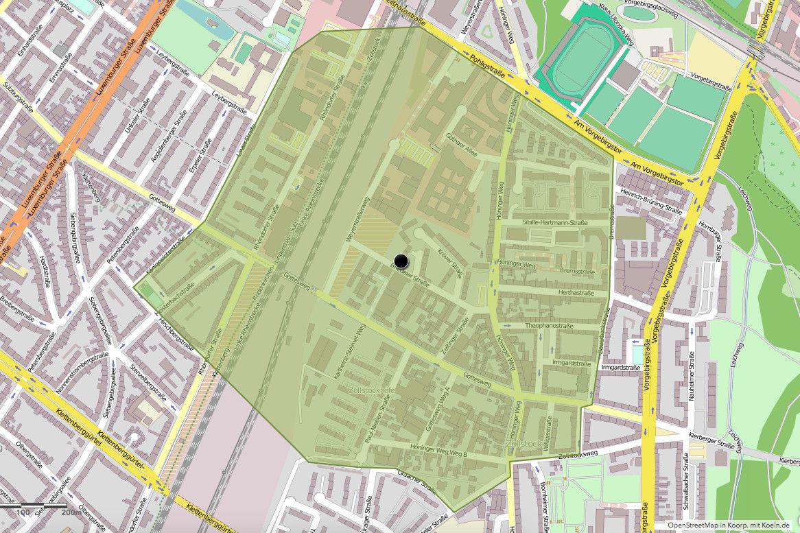 Evakuierungsradius-Karte des Bombenblindgänger auf der Briedeler Straße (Quelle: OpenStreetMap in Koorp. mit Koeln.de)