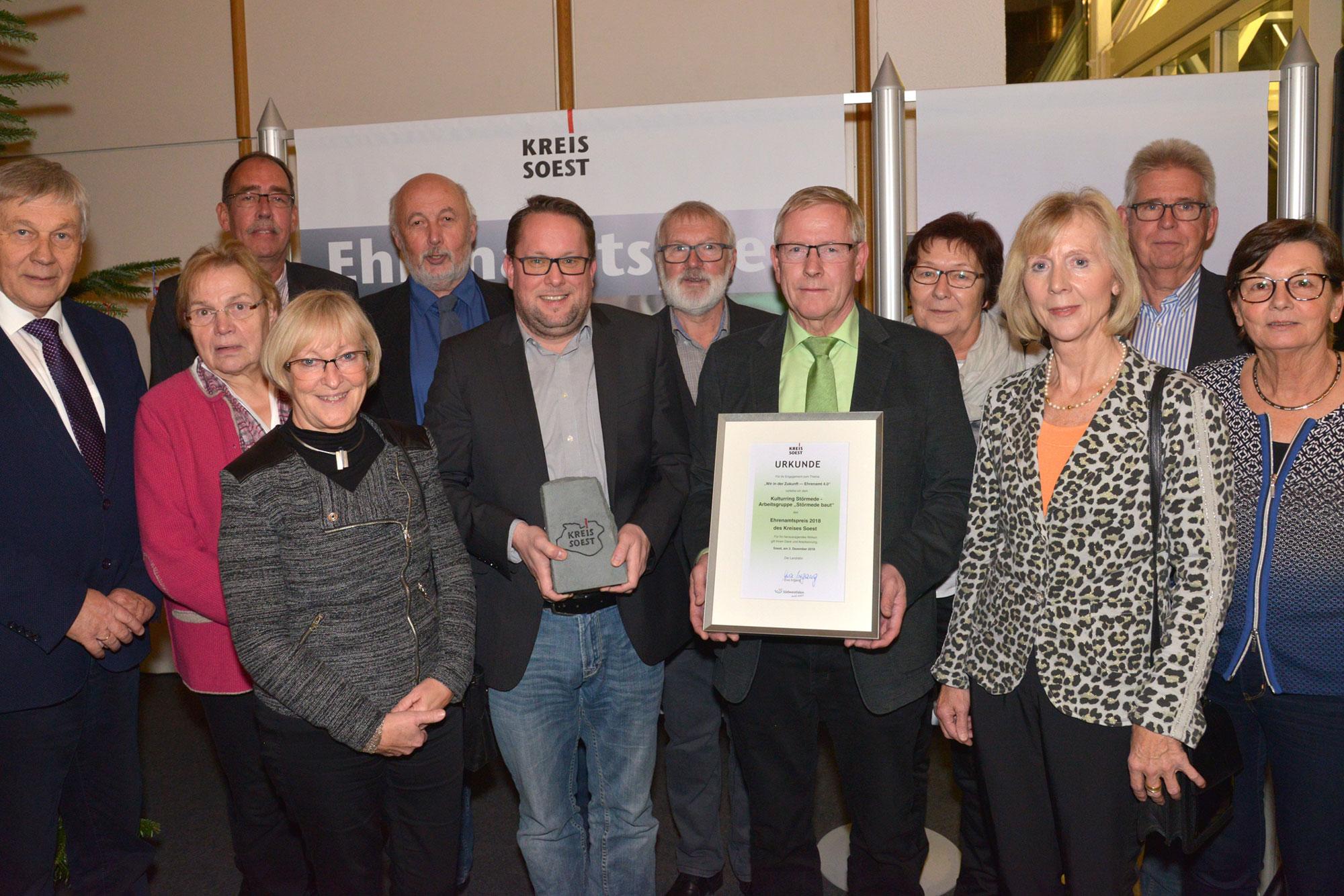 Zu den Ehrenamtspreisträgern 2018 gehörte der Kulturring Störmede aus Geseke. Ihn hat der Kreis Soest genau wie das Schulkanuprojekt Lippstadt für den Publikumspreis beim Deutschen Engagementpreis 2019 nominiert. (Foto: Kreis Soest)