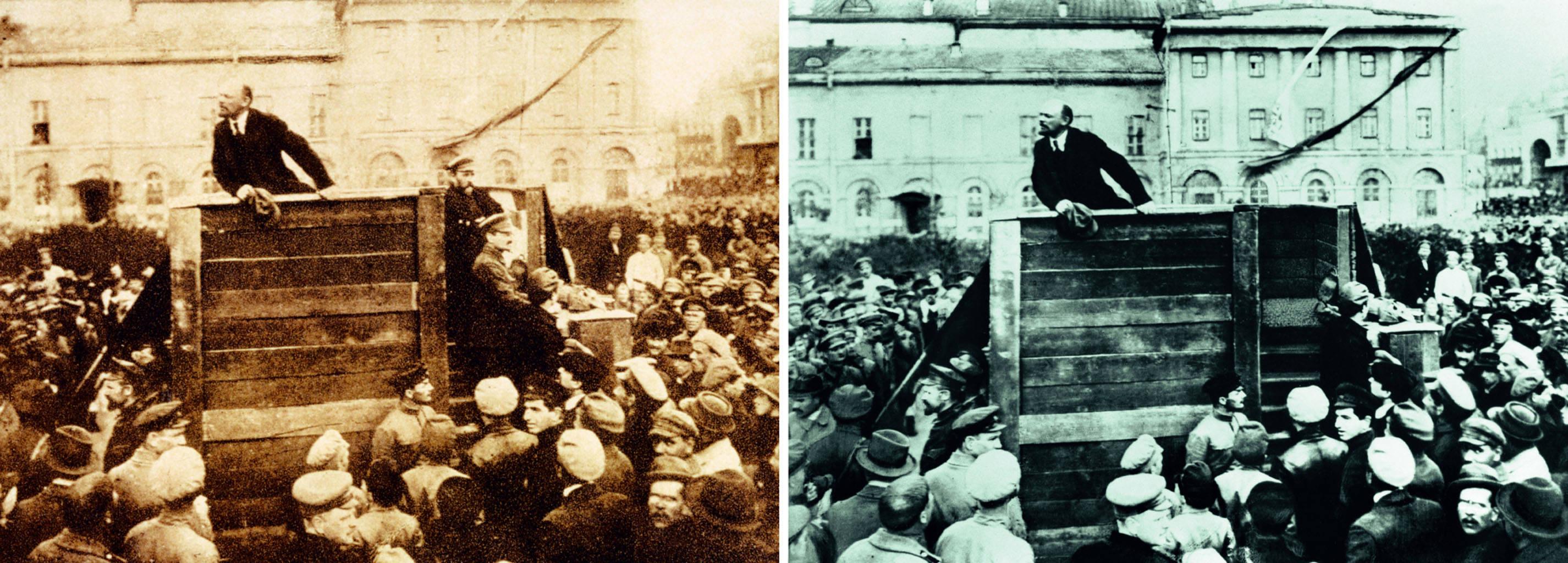 1920 hielt Lenin eine Rede in Moskau. Leo Trotzki und Lew Kamenew standen im Originalbild auf den Stufen des Podestes. Auf dem retuschierten Foto wurden beide übermalt und durch Holzstufen ersetzt. (Foto: G.P. Goldstein)