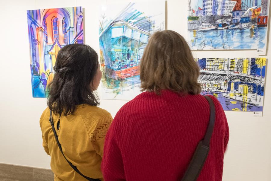 Ausstellung der Urban Sketchers im Rathaus