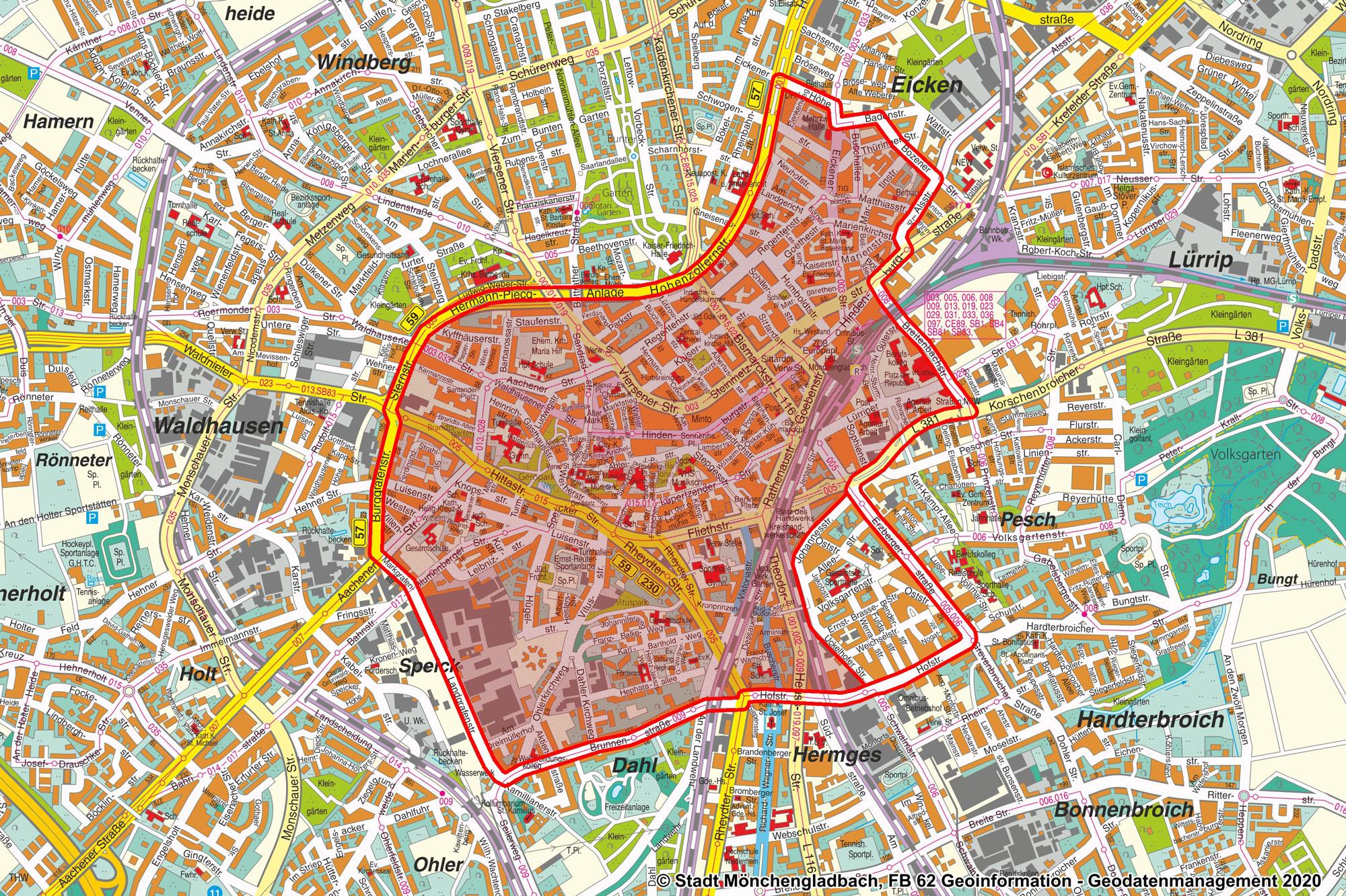 Plan der Sperrungen für den Veilchendienstagumzug 2020. (Foto: Stadt MG)