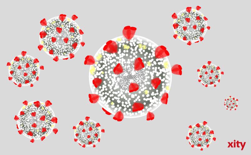 Künstlerische Darstellung des Corona-Virus. (Illustration: Xity)