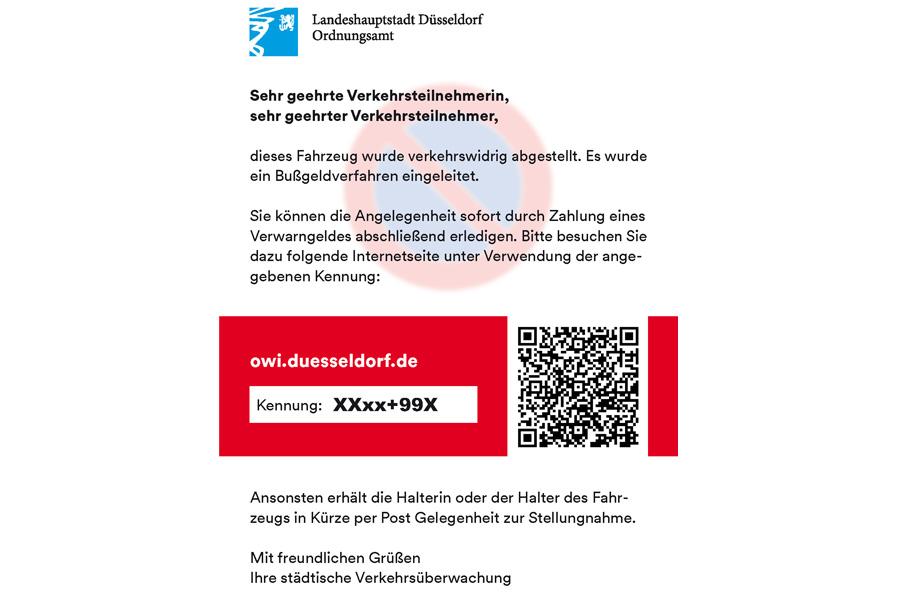 """So sehen die neuen """"Knöllchen Online"""" aus (Foto: Stadt Düsseldorf/Ordnungsamt)"""