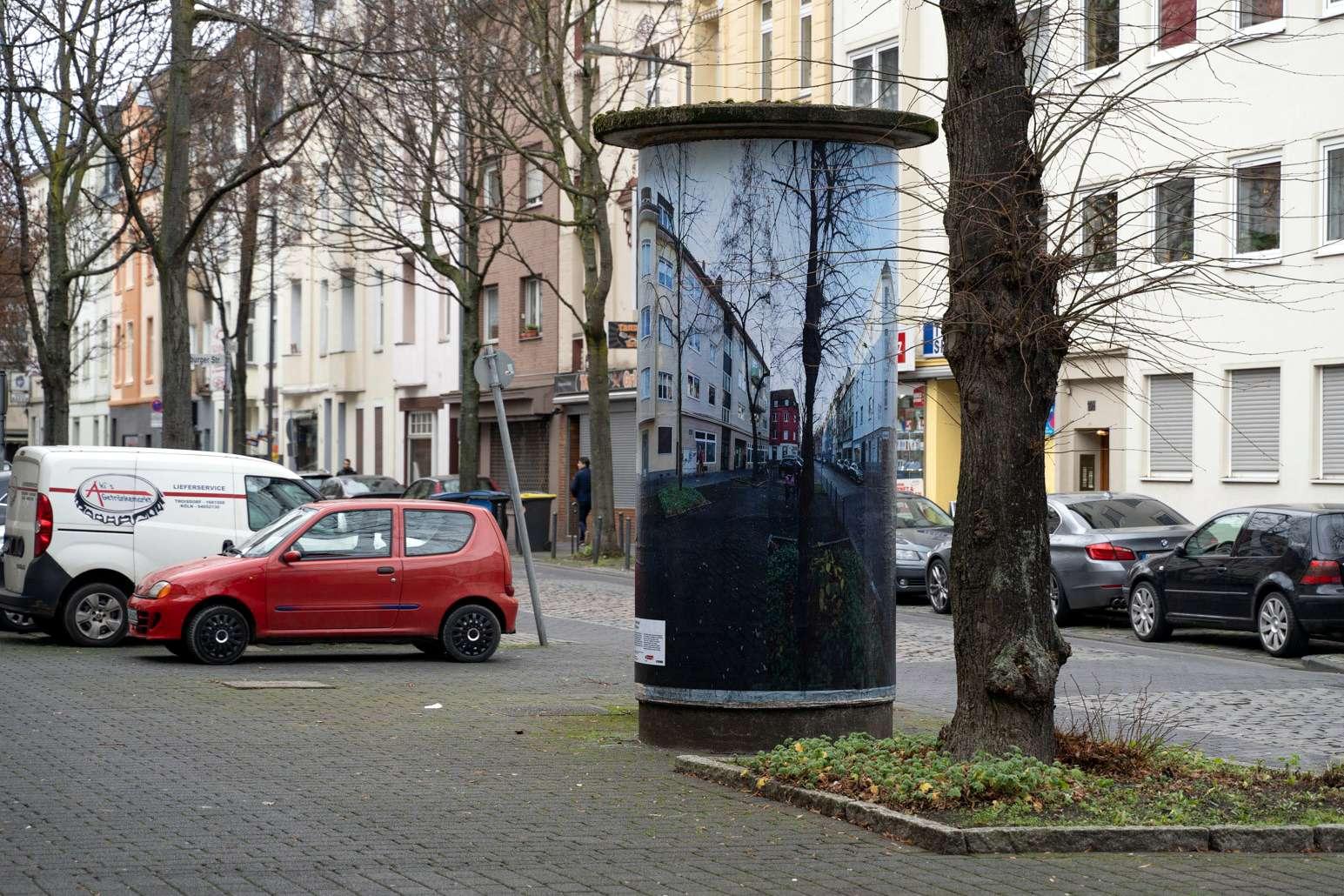 Kunst an Kölner Litfaßsäulen: Säule von Maurits Boettger auf der Wattstraße in Köln (Foto: Maurits Boettger)
