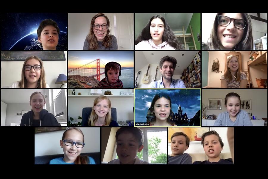 Videokonferenz mit Teilnehmer/innen des digitalen Osterferienprojekts (Foto: Anna-Mareike Vohn)