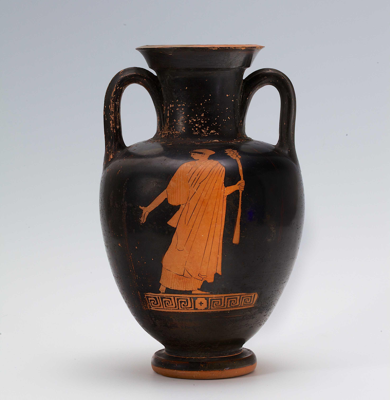 Attisch-rotfigurige Amphore, Mänade mit Thyrsosstab, 470/460 v. Chr. (Foto: Hetjens - Deutsches Keramikmuseum)