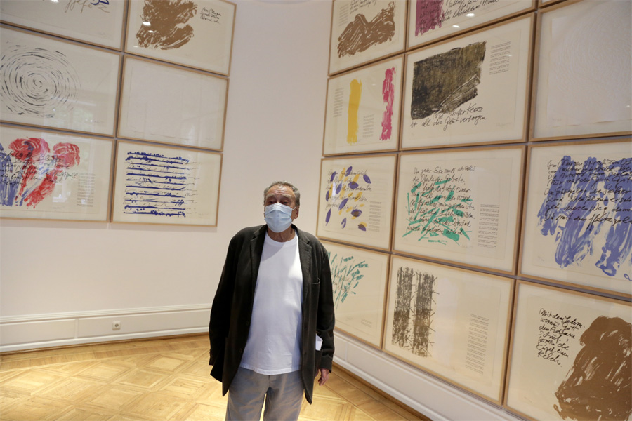 Günther Uecker im Goethe-Museum (Foto: Stadt Düsseldorf/Ingo Lammert)
