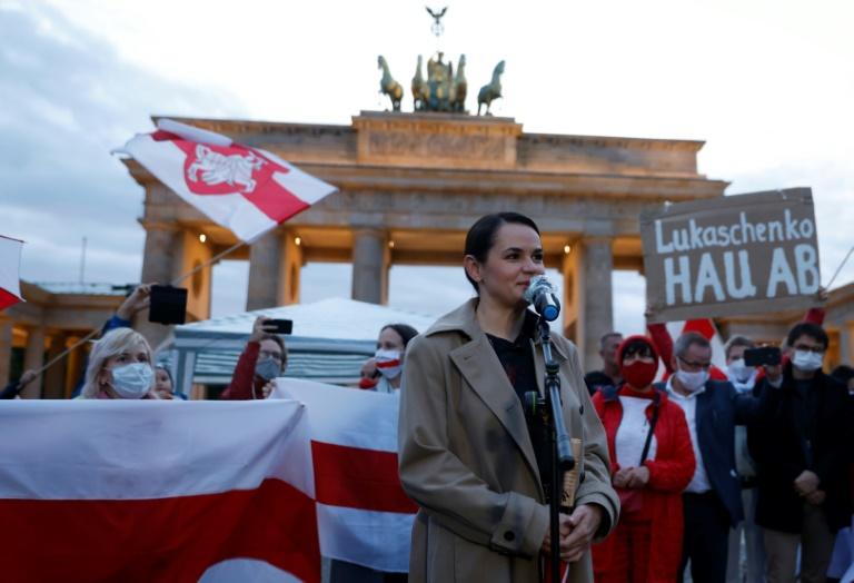 Tichanowskaja dankt in Deutschland lebenden Landsleuten für Unterstützung (© 2020 AFP)