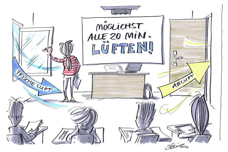 Sicherer Unterricht unter den Bedingungen der Epidemie (Foto: Deutsche Gesetzliche Unfallversicherung (DGUV)/Zeichnung: Michael Hüter)