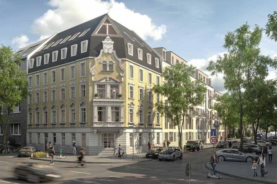 """Wohnbauprojekt """"Hinz & Kunz"""" in Düsseldorf entsteht (Foto: UH Invest)"""
