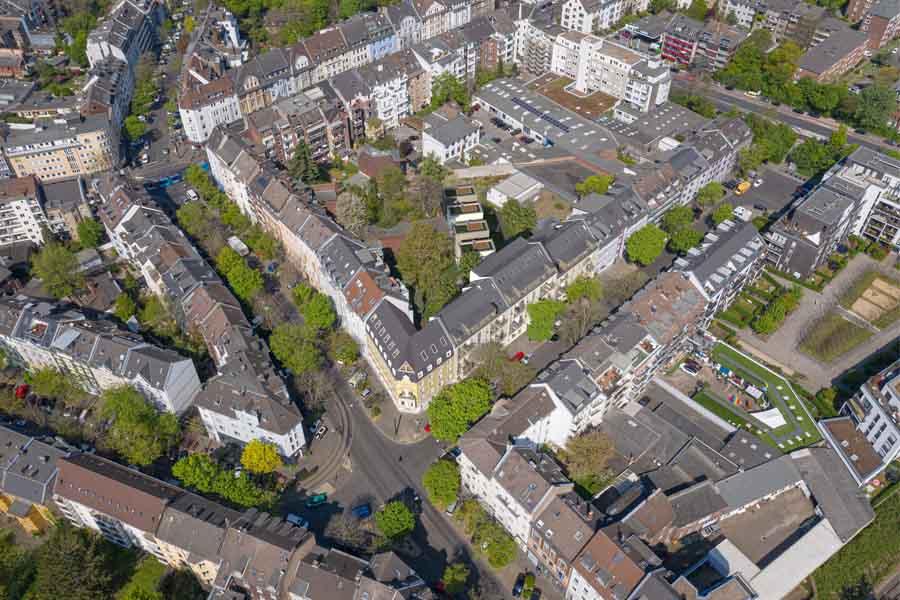 Luftbild des Areals in Flingern (Foto: UH Invest)