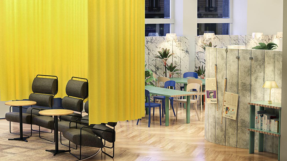So soll das Cafe im KWM aussehen (Foto: Kunstmuseen Krefeld, Rendering: Studio Robert Stadler)