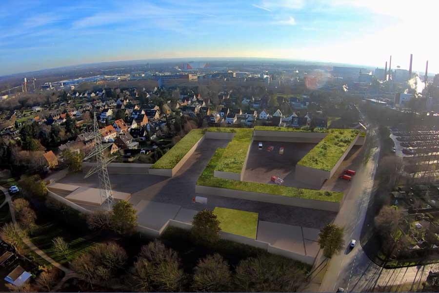 Animation des geplanten Neubaus der Feuer- und Rettungswache 7 und des zentralen Betriebshofes Süd (Foto: Stadt Düsseldorf/Amt für Gebäudemanagement)