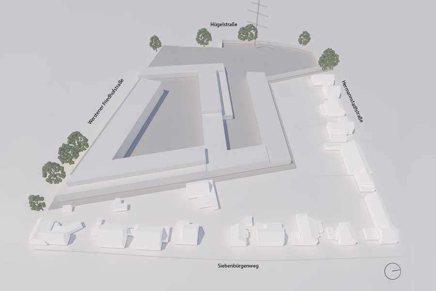 Dieser Plan zeigt den Neubau der Feuer- und Rettungswache 7 und des zentralen Betriebshofes Süd (Foto: Stadt Düsseldorf/Amt für Gebäudemanagement)