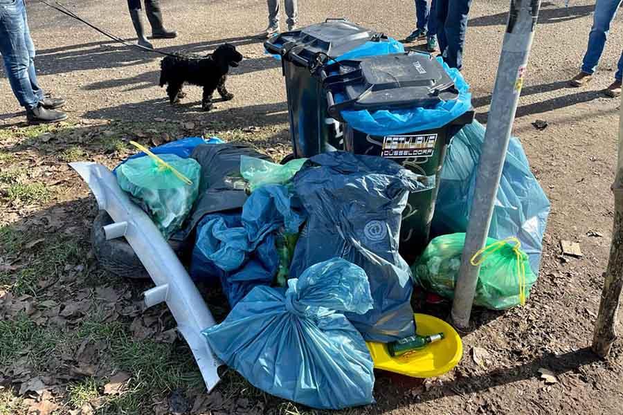 Müllsammelaktion auf den Rheinwiesen (Foto: privat)