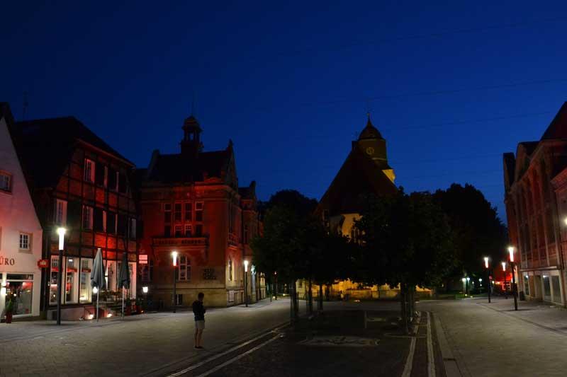 Im Dunklen liegen wird am Samstag ab 20:30 Uhr für eine Stunde die Mittelzunge des Marktplatzes. (Foto: Stadt Ahlen)