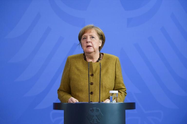 Merkel spricht mit Kunst- und Kulturschaffenden über die Pandemie (© 2021 AFP)