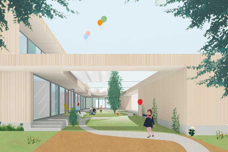 """Spielhof ist das Herzstück der """"Kita Oxford"""". (Foto: heimspiel architekten)"""