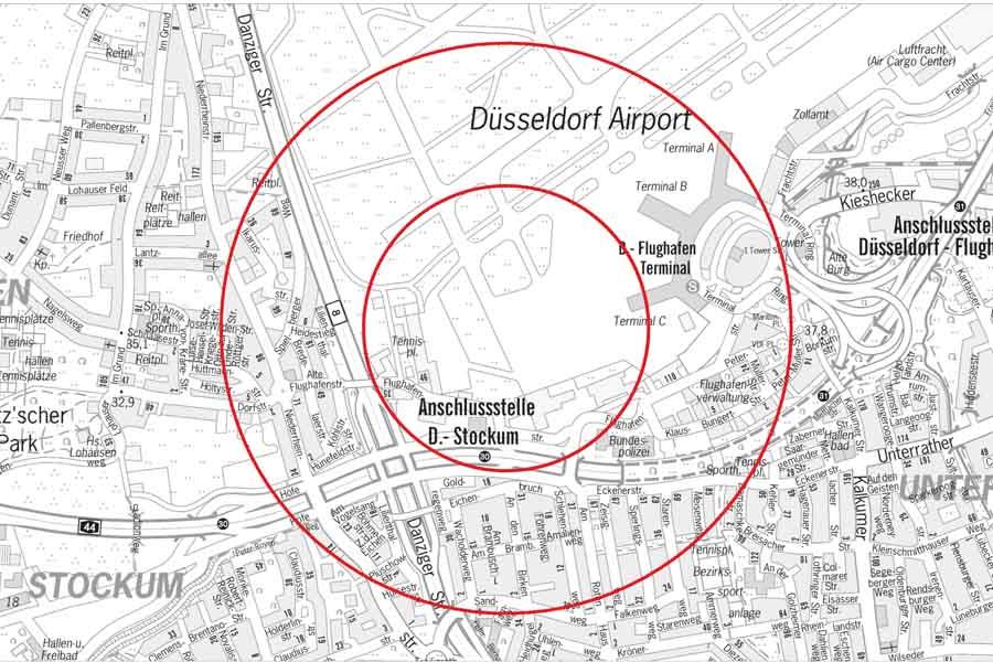 Dazu müssen in einem Radius von 500 Metern (Gefahrenbereich A) um die Fundstelle an der Flughafenstraße bis zu 2.500 Menschen ihre Wohnungen oder Arbeitsstellen verlassen (Foto: Stadt Düsseldorf)