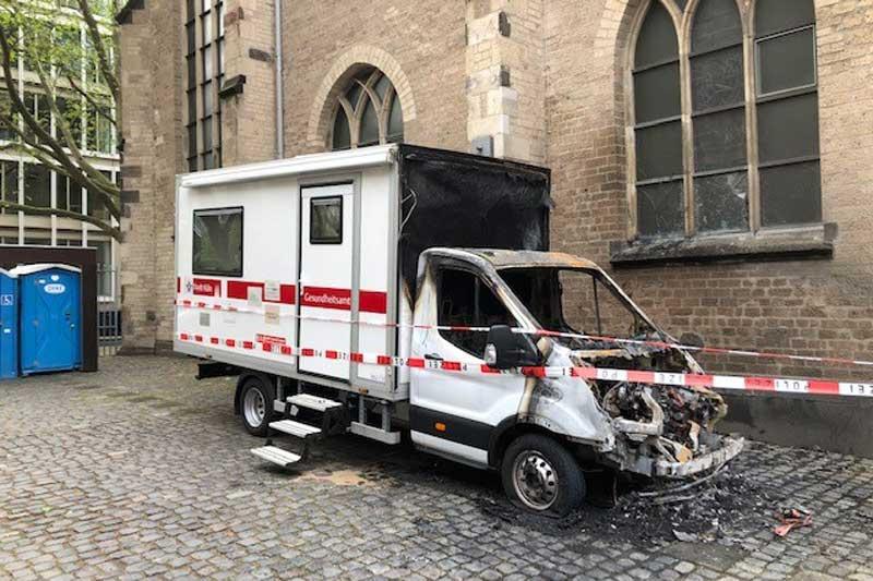Drogenkonsum-Bus ausgebrannt. (Foto: Stadt Köln)