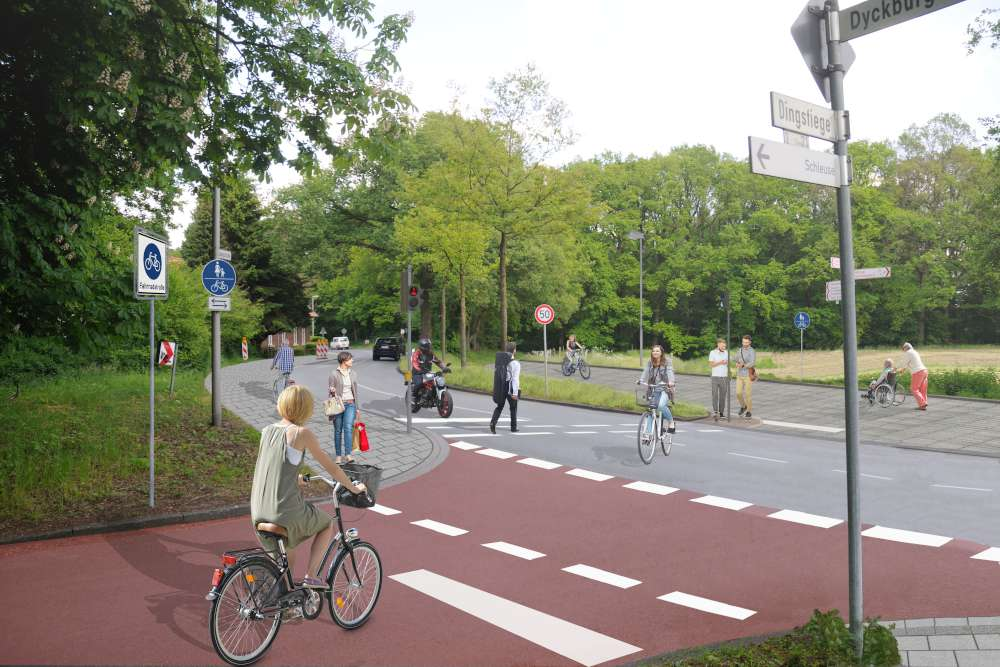 Die Grünanforderung für Radfahrende auf der Veloroute Münster – Telgte ist nach Installierung der neuen Ampel schon frühzeitig über Sensoren möglich. (Visualisierung: Stadt Münster)