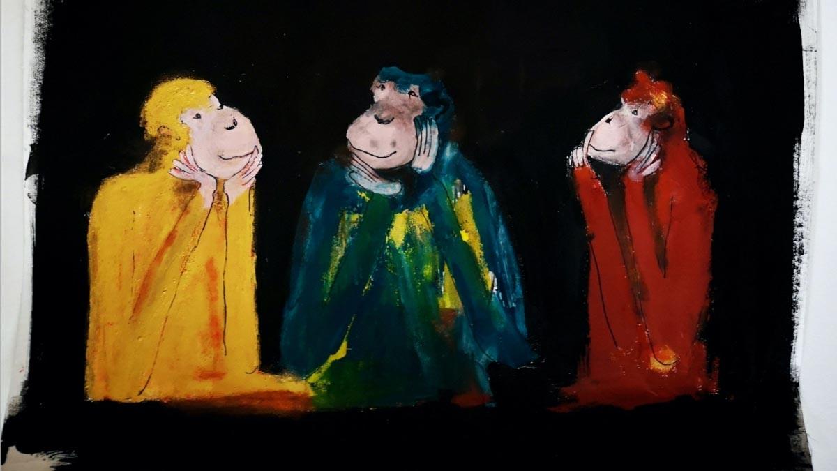 Affenkunst, gemalt von Christiane Holsten. Ihre Technik ist das Fingerpainting. (Foto: Christiane Holsten)
