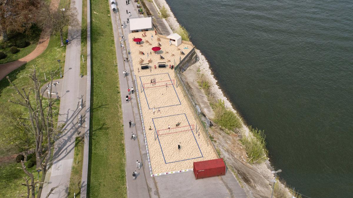 Die Animation zeigt die geplanten Beachvolleyballfelder am Werft in Uerdingen (Foto: Stadt K)