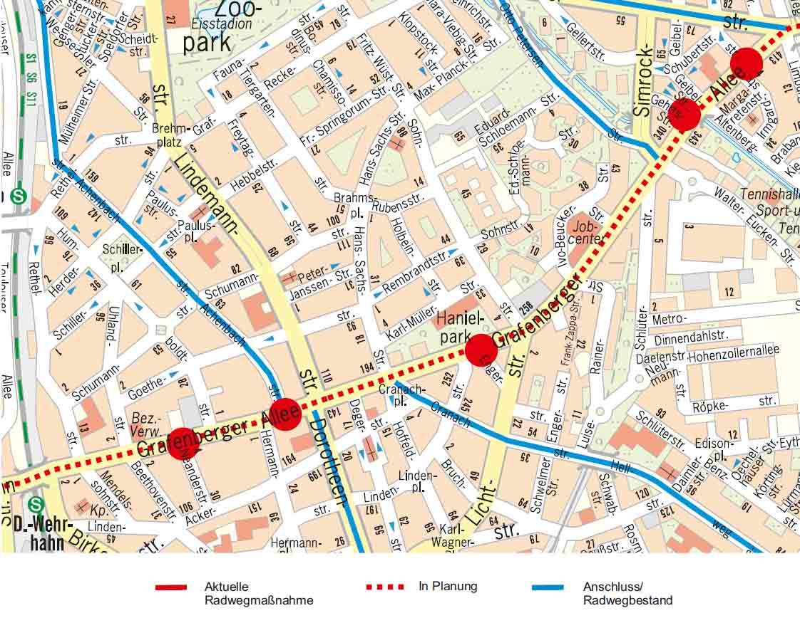 An insgesamt sechs Kreuzungen sollen Aufpflasterungen auf der Grafenberger Allee für mehr Sicherheit und Komfort sorgen (Foto: Stadt Düsseldorf)