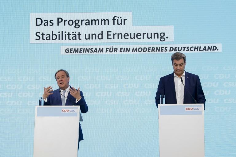 """Laschet: Union steht für """"Sicherheit und Zusammenhalt im Wandel"""" (© 2021 AFP)"""