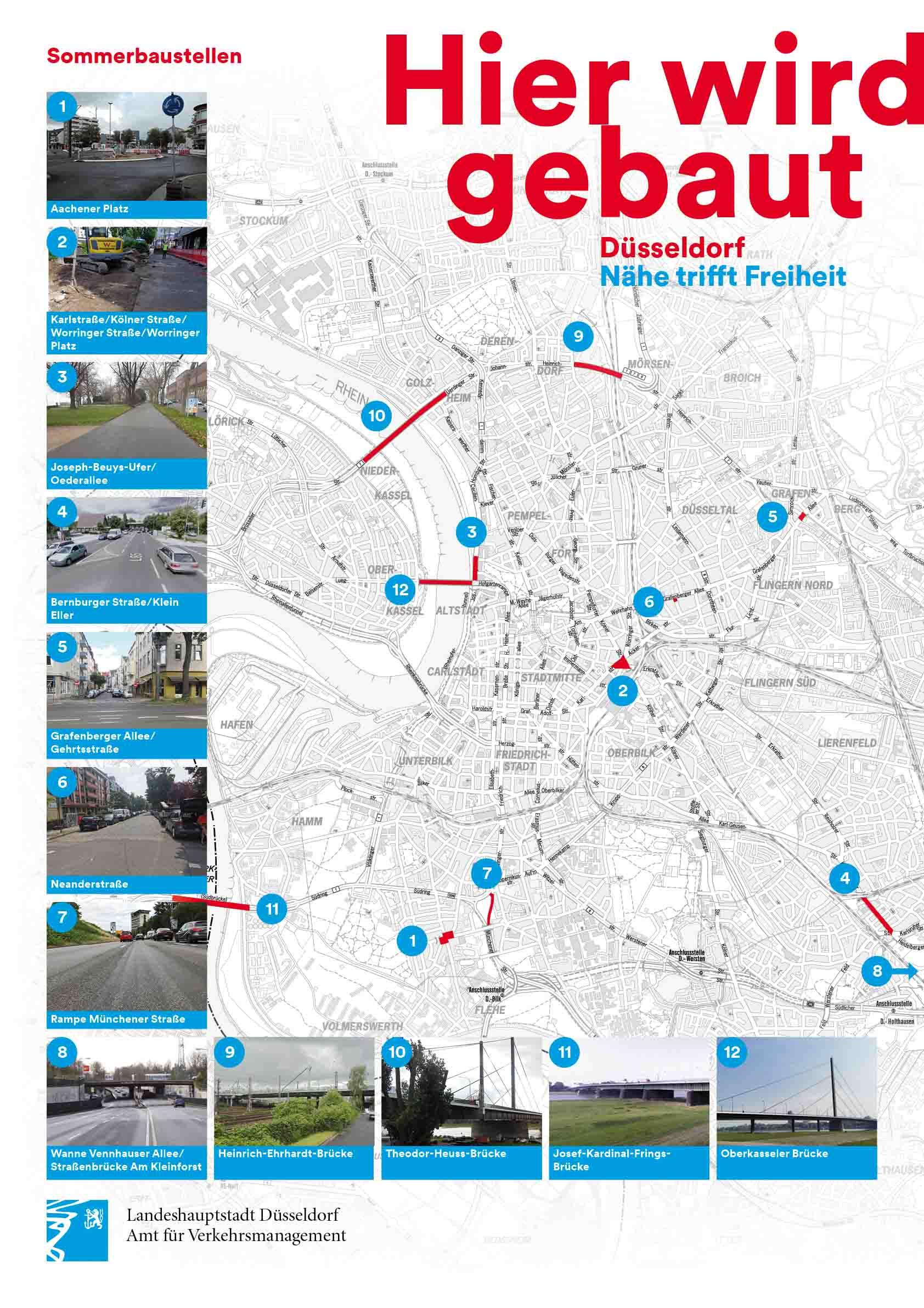 Übersicht über die Sommerbaustellen 2021 (Foto: Stadt Düsseldorf, Amt für Kommunikation)