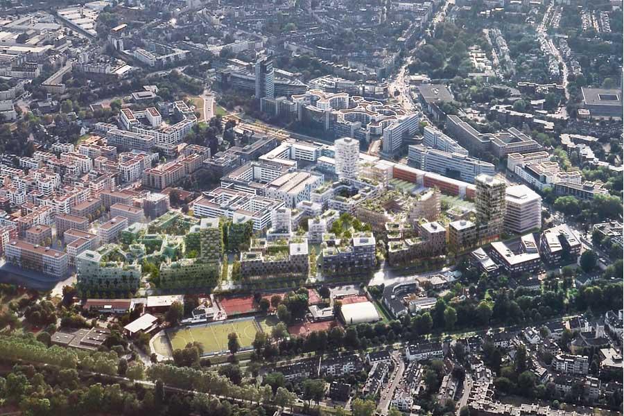 Met Campus, 1. Preis ACME, Vogelperspektive (Foto: Stadt Düsseldorf/ACME)