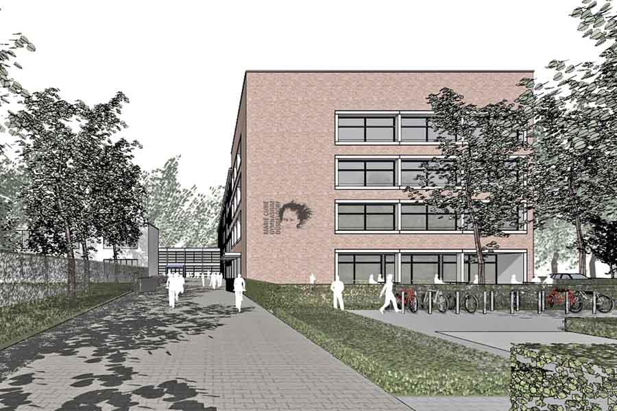 Visualisierung des Erweiterungsbaus am Marie-Curie Gymnasium (Foto: Stadt Düsseldorf/Peter Bastian Architekten BDA)