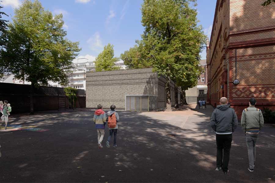 Animation der neuen Einfeld-Sporthalle an der GGS Kronprinzenstraße (Foto: Stadt Düsseldorf/WOLLENWEBERARCHITEKTUR)