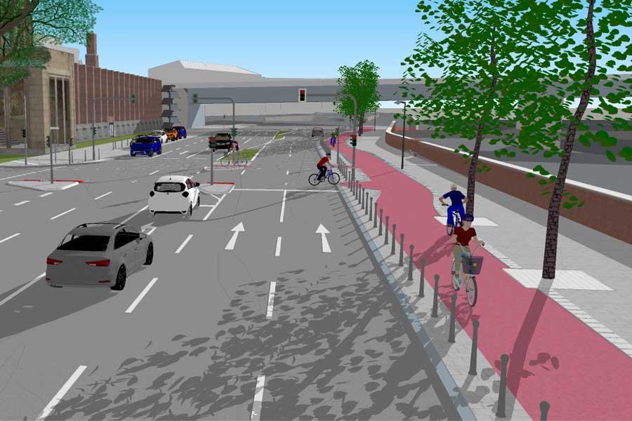Durch den neu aufgeteilten Straßenraum wird zum Rheinufer mehr Platz für den Seitenraum geschaffen (Foto: Amt für Verkehrsmanagement)