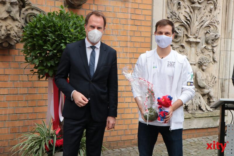 Oberbürgermeister Sr. Stephan Keller und Tischtenniseuropameister Timo Boll. (Foto: xity)