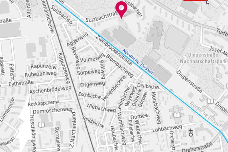Karte des betroffenen Gebiets der Ostpark-Siedlung zwischen dem Straßen-Dreieck Zweibrückenstraße, Rapunzelweg und Dreherstraße mit insgesamt rund 350 Gebäuden. (Foto: Stadt Düsseldorf)