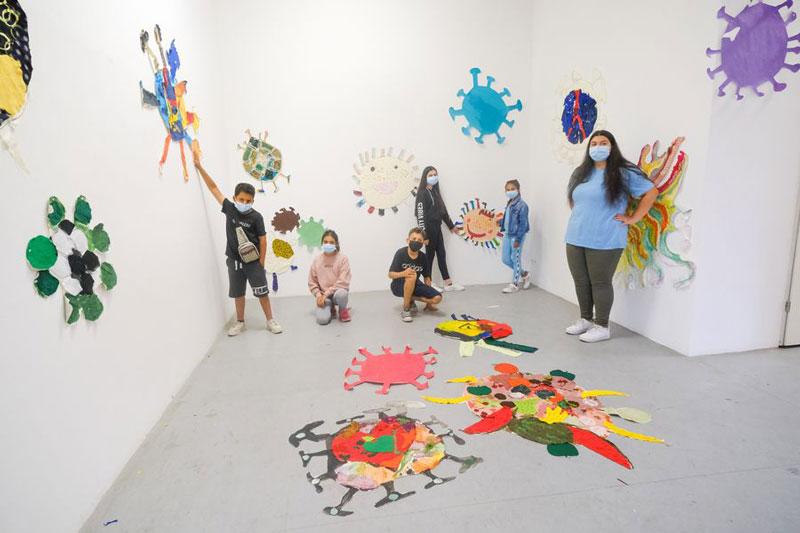 Teilnehmende Kinder am BauKinderKultur-Kunstprojekt. (Foto: Stadt Düsseldorf)