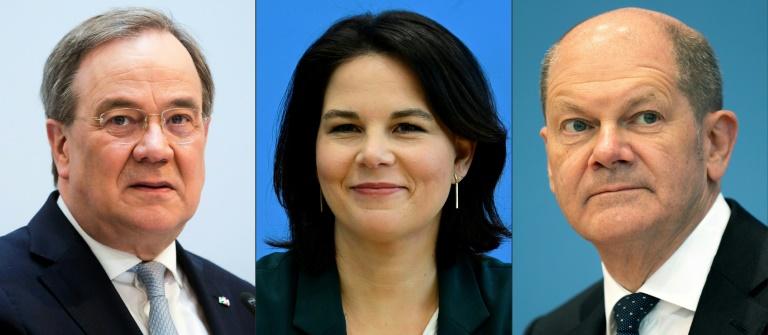 Scholz, Laschet und Baerbock diskutieren bei DGB-Veranstaltung (© 2021 AFP)