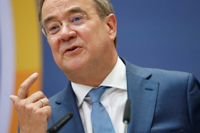 Laschet stellt 100-Tage-Programm für CDU-geführte Regierung vor (© 2021 AFP)