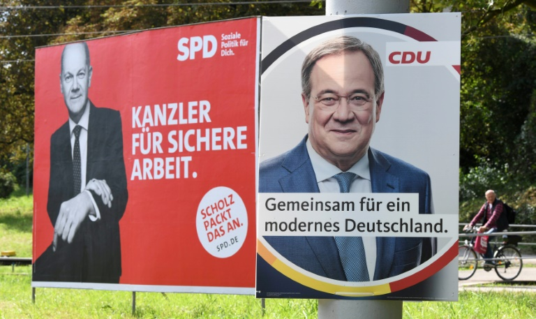 """""""Politbarometer"""": Union kann Rückstand auf SPD leicht verkürzen (© 2021 AFP)"""