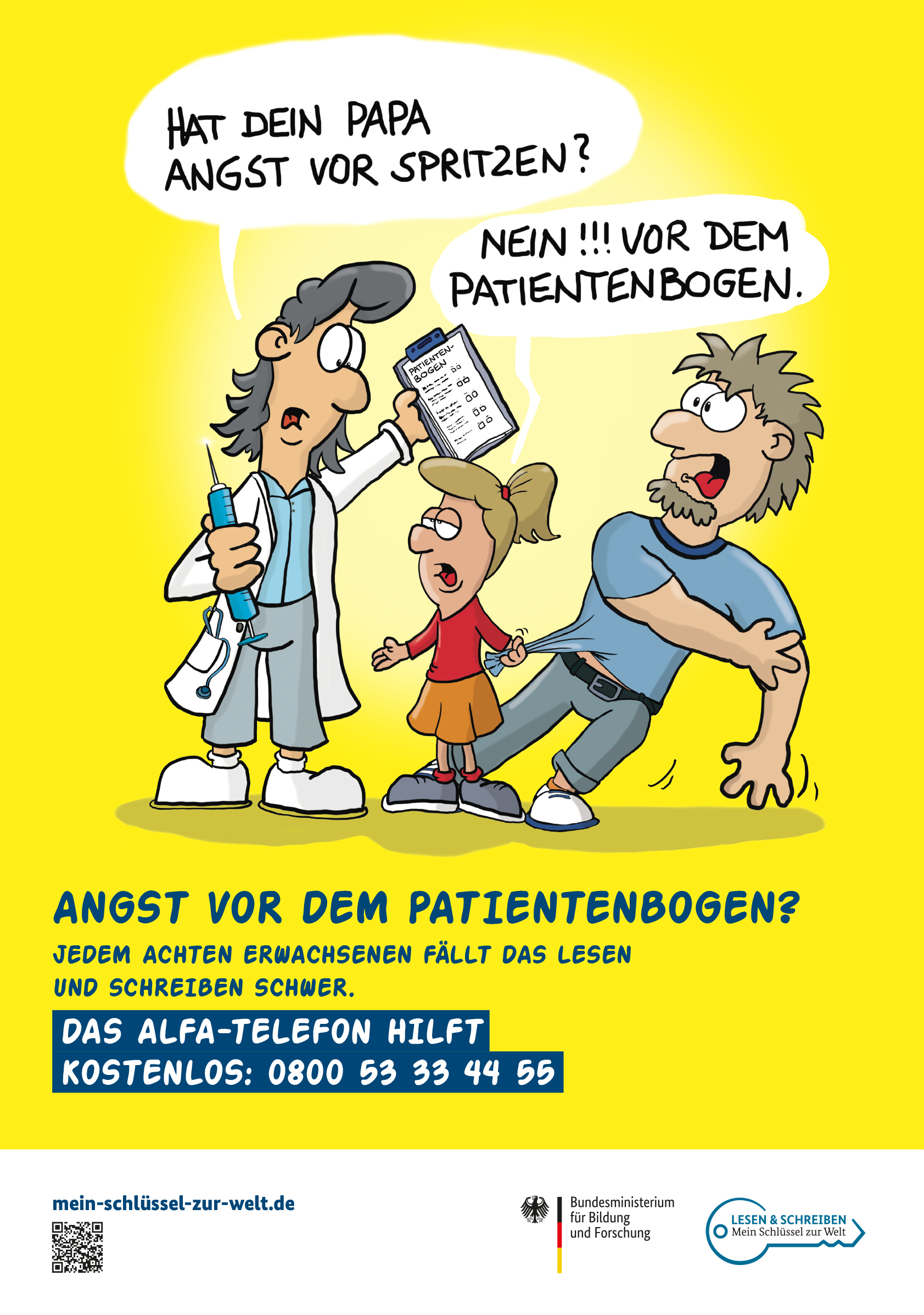 """AlphaDekade / """"Mein Schlüssel zur Welt"""" sensibilisiert im Wartezimmer ... (Foto: OTS)"""